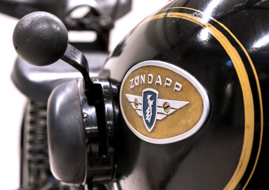 Motorrad- und Automuseum PS.SPEICHER in Einbeck (Niedersachsen).  Zündapp Einszylinder-196-ccm-Motortrad von 1950.